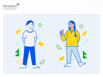 Fensolvi – Little a Little Longer Content Hub Illustrations playful yellow blue children handwritten character boy and girl kids geometric shapes illustration