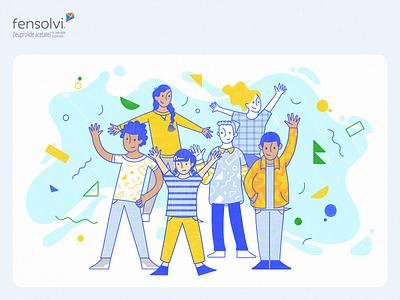 Fensolvi – Little a Little Longer Content Hub Illustrations happy kids children blue yellow playful illustration handwritten character