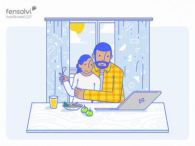 Fensolvi – Little a Little Longer Content Hub Illustrations childhood parents children blue yellow playful illustration handwritten character