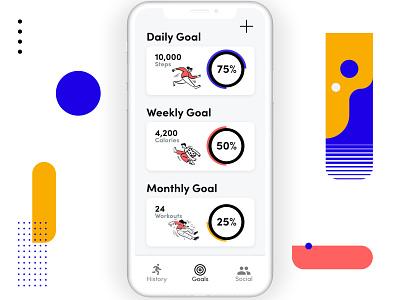 Workout App- Goals branding fitness workout app 100 day challenge adobe xd ux design icon ux ui design ui design challenge