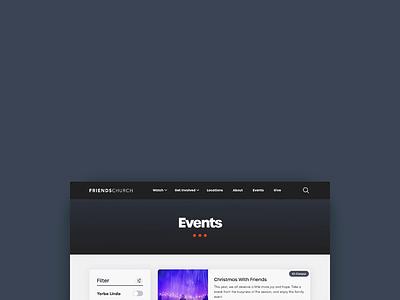 Events Page- Friends Church webflow filter ui fixed nav church website church web app design events friendly web app branding design adobe xd ux design ux ui design ui