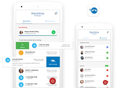 Call Blocking app app material design sliding grid silent ninja app ui call logs callblocker call blocking call blocker