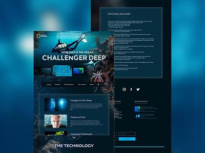 Challenger deep web landing page webpage design ux design ui ui design