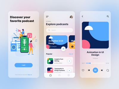 Podcast mobile app podcasting exploration music mobile ui mobile app podcast