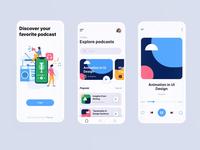 Podcast mobile app prototyping animation motion graphic music player podcast mobile app podcast app prototype protopie