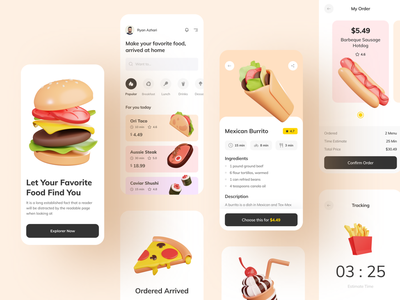 Food App with 3D illustration asset food delivery app food app 3d icon 3d asset 3d illustration