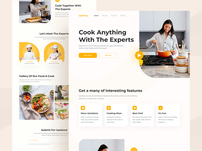 Qooking - Cooking Website Homepage header homepage landing page web design ui ux