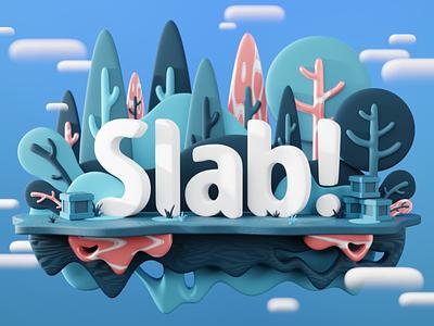 SLAB logo in 3D 3d art 3d render 3d modeling logo 3d
