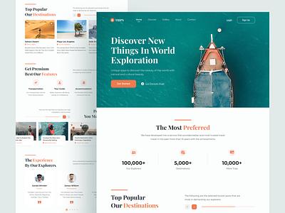 Trips - Travel website homepage flat ui logo design header homepage landing page web design illustration ui ux