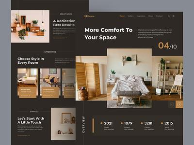 Interior Design Website ui logo design header flat homepage landing page web design illustration ui ux