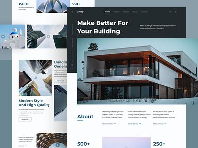 Architecture Landing Page ui design header homepage landing page web design illustration ui ux