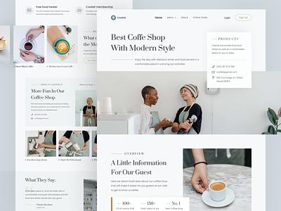Coffee Shop Website logo design header flat homepage landing page web design illustration ui ux