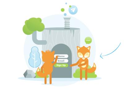 illustration for ConverFox character mascot cartoon fox flat illustration