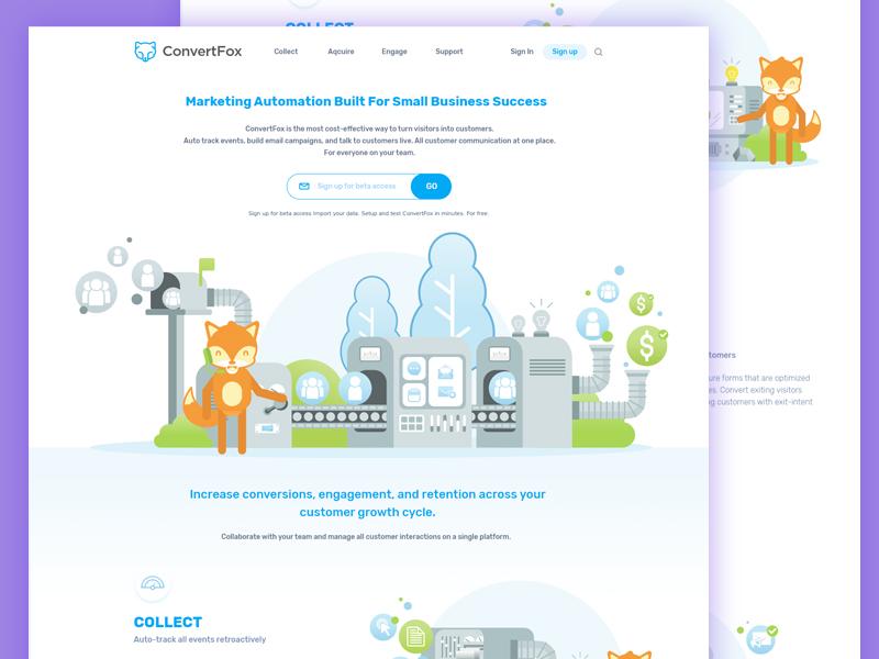 ConvertFox Homepage design fox illustration web design flat ui ux