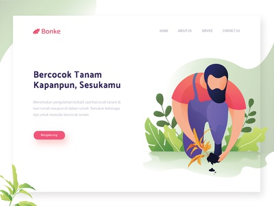 Header Illustration Exploration for a Gardening Website farming organic plant gardening uiux illustration header