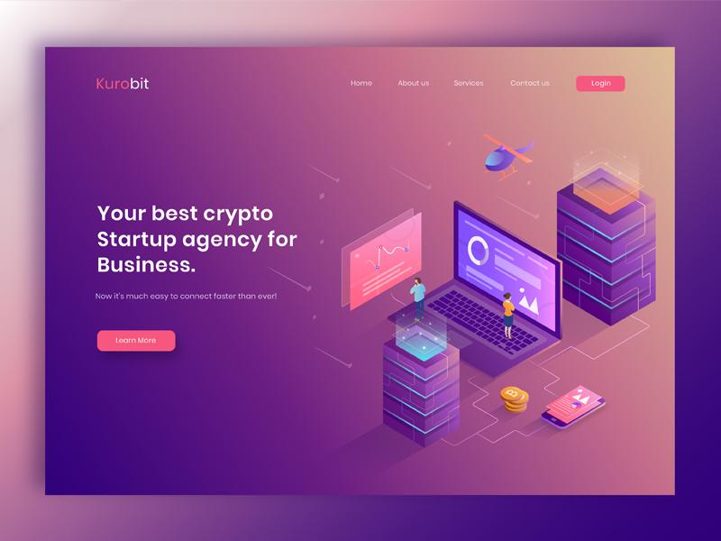 Header Illustration Exploration for a Crypto Startup agency isometric uiux header illustration crypto blockchain bitcoin cryptocurrency