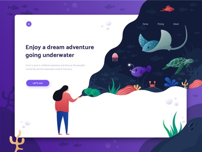 Header Illustration Exploration for sea adventure website