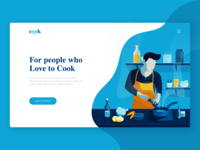 Landing Page Illustration Exploration for Cook theme website