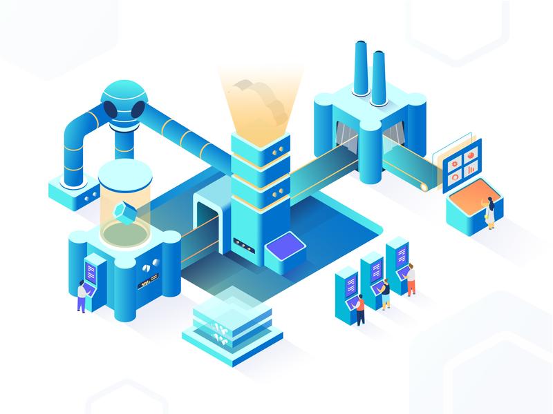 The Digital Cloud Factory data center sketch digital cloud factory isometric ui ux illustration