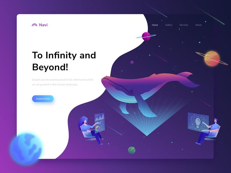 Navi - hero illustration exploration ui header homepage web design uiux isometric landing page illustration ui ux