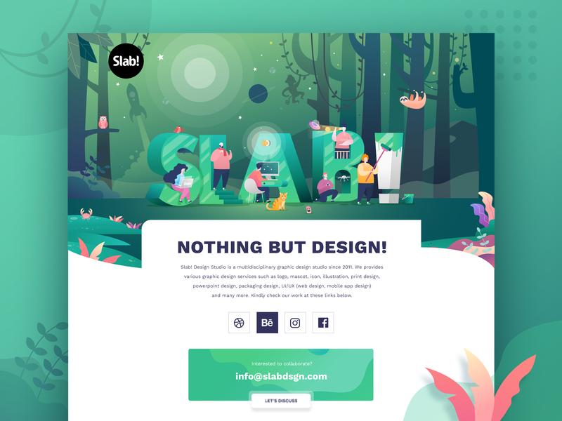 Web redesign of ours! landing page uiux homepage design studio illustration web design slab design