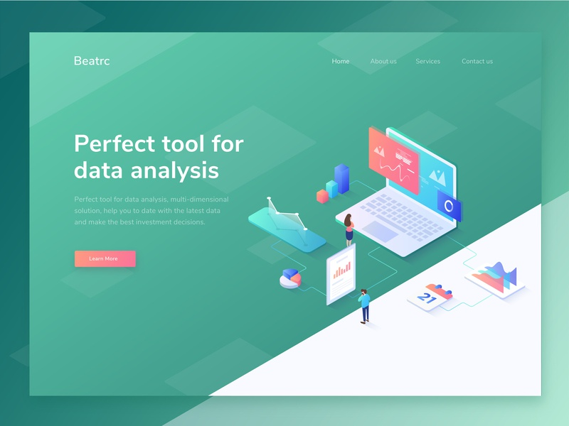 Beatcr - isometric illustration for data analysis website data analysis green ui web design landing page ui ux header isometric homepage illustration