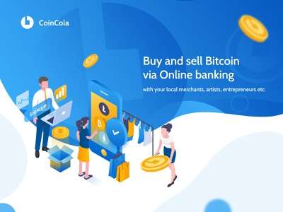 Coincola - bitcoin marketplace website web design uiux homepage landing page isometric marketplace illustration crypto currency crypto trading crypto wallet crypto bitcoin