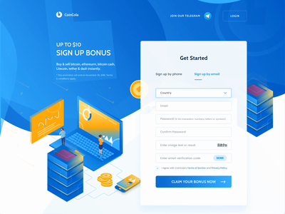 Coincola homepage - animated crypto currency bitcoin isometric landing page web design illustration homepage ui ux