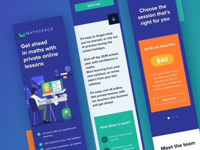 Mathspace Landing page in mobile size responsive layout responsive mobile size landing page illustration ui ux