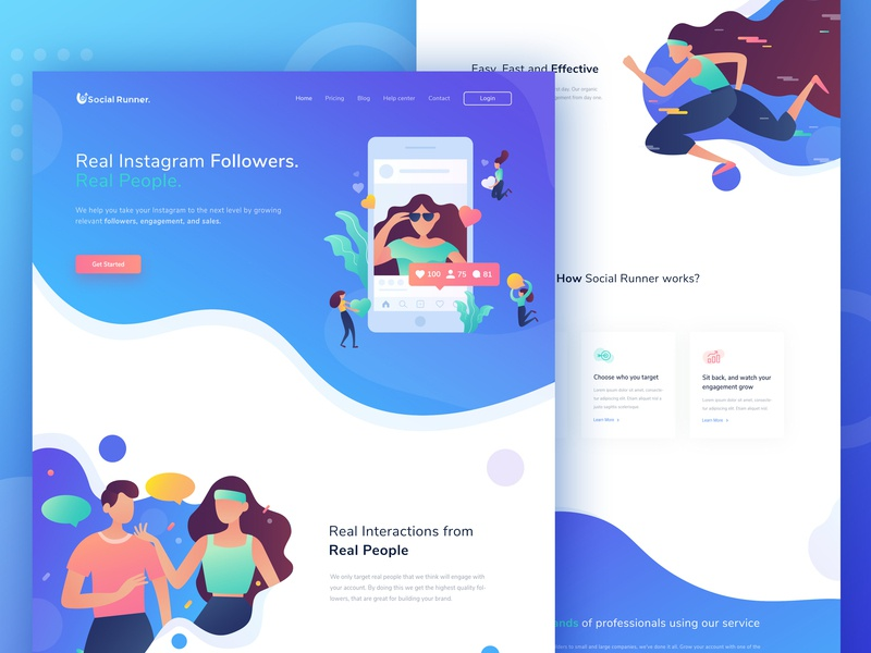 Social Runner web redesign project social media uiux header homepage landing page web design illustration ui ux