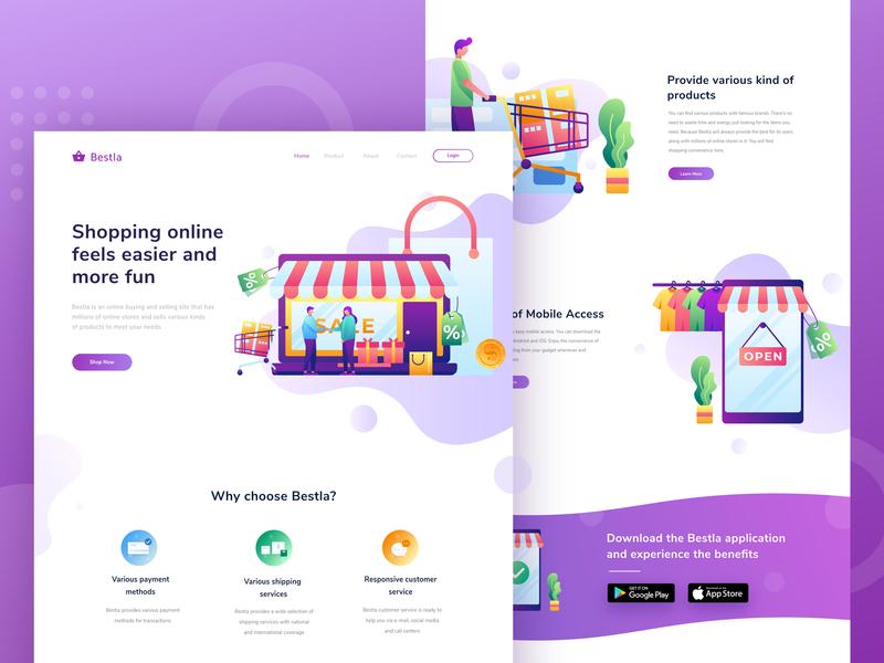 Bestla - landing page for online shop app shop app online shop homepage header ui ux landing page web design illustration