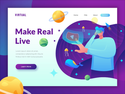 animated hero image - virtual reality illustration web design flat header homepage landing page motion graphic animated banner gif animated