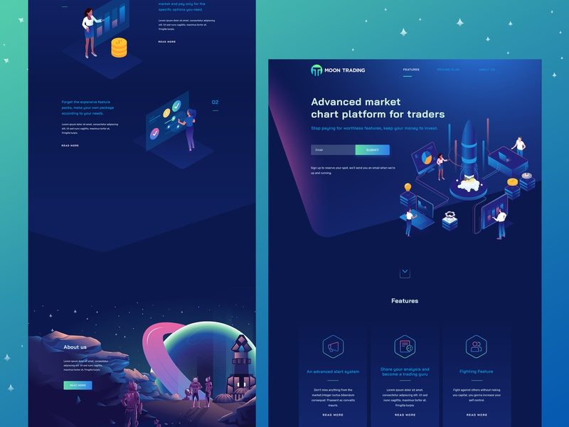 MoonTrade web design - chart platform for traders traders chart isometric homepage landing page ui ux illustration