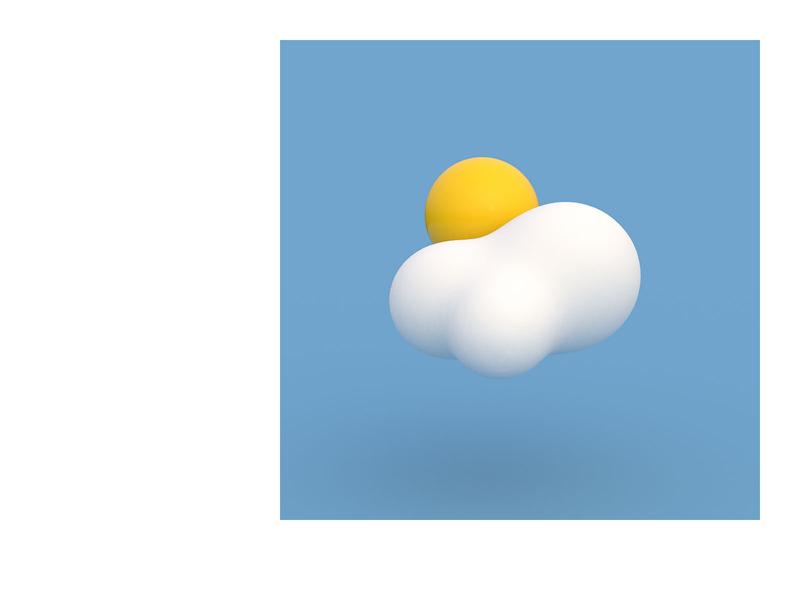 Sunny Side Up 3d blue icon illustration