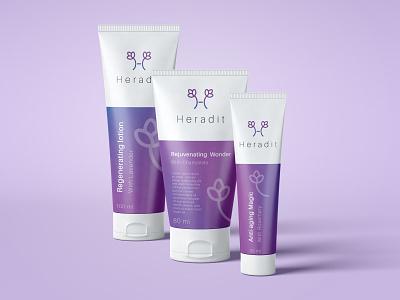 Heradit logo and branding package design packaging cosmetic product mockup cosmetic brand luxury gradient purple natural organic skincare iran graphic design logo logo design brand identity branding
