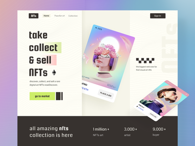 nfts - NFT Marketplace Website gradient marketplace cryptocurrency exploration hero website ui redesign rainbow colorfull design investment invest aesthetic bitcoin crypto design nfts nft