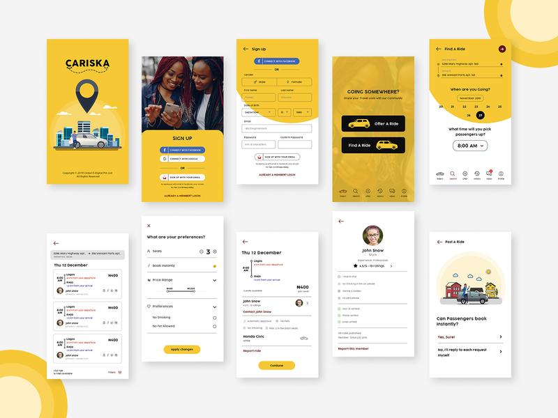 Cariska app view - CarPooling app design concept vector adobe xd design ui ux branding typography app design app view