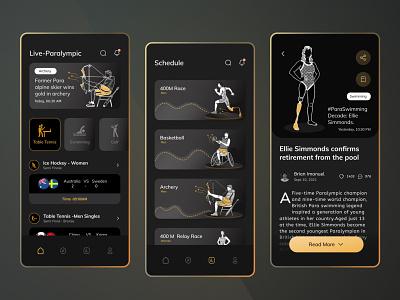 Paralympic Games   Mobile App Concept vector illustration mobile app mobile screens clean sports paralympics visual design design dark mode ui