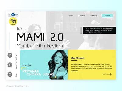 Landing Page - MAMI 2.0  Mumbai Film Festival cinema movie ux mvp design website web page landing page mami festival big fonts large text film festival trending priyanka chopra jonas chairperson global female leadership branding ui