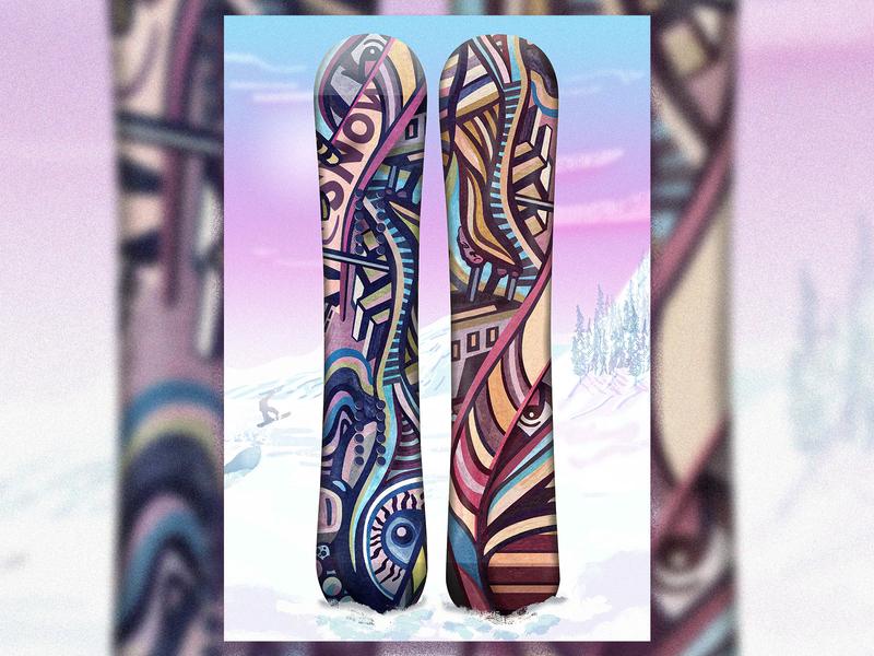 Snowboard Illustration illustrator art digital illustration digital painting digital art snowboarding snowboard snowflake snow photoshop brush photoshop art watercolour gouache illustrator drawing artist art photoshop painting design illustration