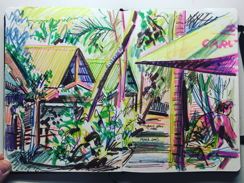 Sketchbook Drawing - Airlie Beach Hostel