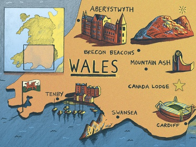 Illustrated Map Of Wales