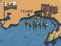 Illustrated Map Of Wales - Detail