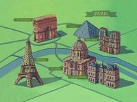 Illustrated Map of Paris