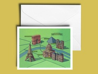 Paris Landmarks A5 Greetings Card