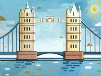 London Bridge Landscape Illustration