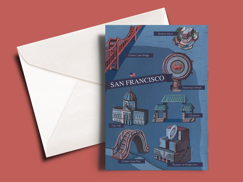 San Francisco A5 Greetings Card sketching landscape map illustration san francisco map congratulations happy birthday card design greetings card greetings watercolour gouache illustrator drawing artist photoshop painting design art illustration