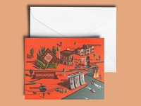 Singapore Illustrated Map A5 Greetings Card