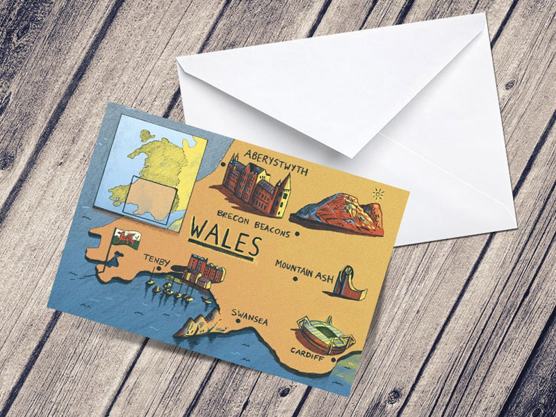 Wales Illustrated Map A5 Greetings Card, With Envelope by ... on map food, map clocks, map colors, map luggage tags, map magnets, map napkins, map boxes, map party favors, map plastic, map of peru, map pencils, map downtown los angeles, map ties, map brochures, map test sheets, map name tags, map rubber stamp, map scales, map markers, map stickers,