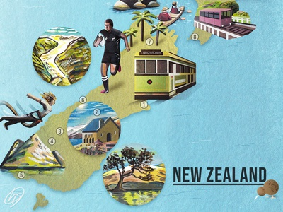 New Zealand Illustrated Map - Detail
